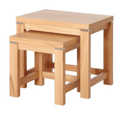 3 satz tisch 2 satz tisch satz tisch beistelltisch eiche nussbaum kernbuche ebay. Black Bedroom Furniture Sets. Home Design Ideas