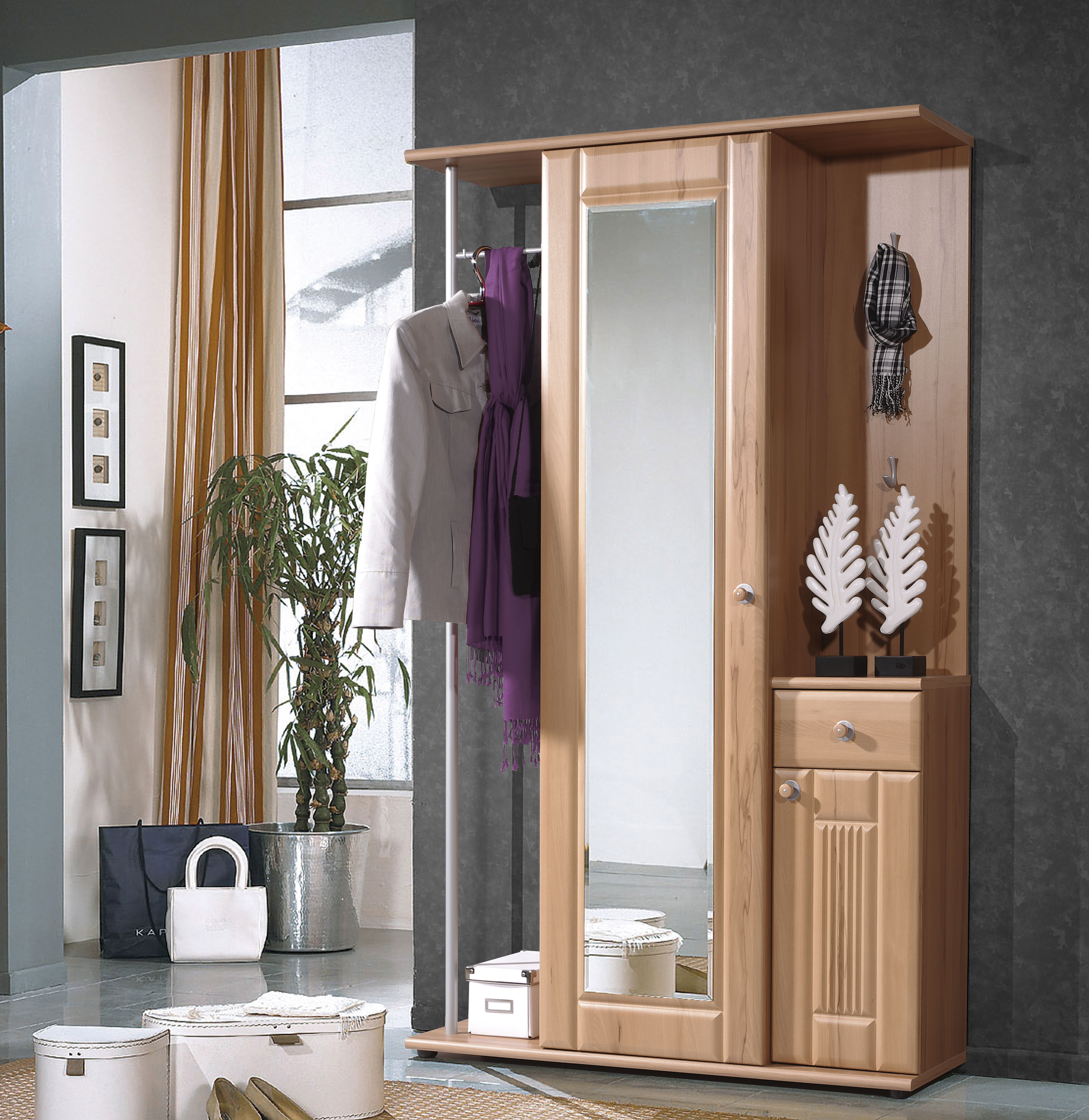 garderobenschrank kompaktgarderobe kleiderschrank schrank mod gm315 kernbuche ebay. Black Bedroom Furniture Sets. Home Design Ideas