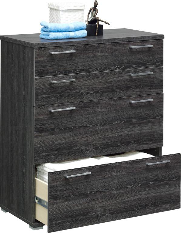 kommode mehrzweckschrank schubladen cs schmal mod k454 mooreiche grau ebay. Black Bedroom Furniture Sets. Home Design Ideas
