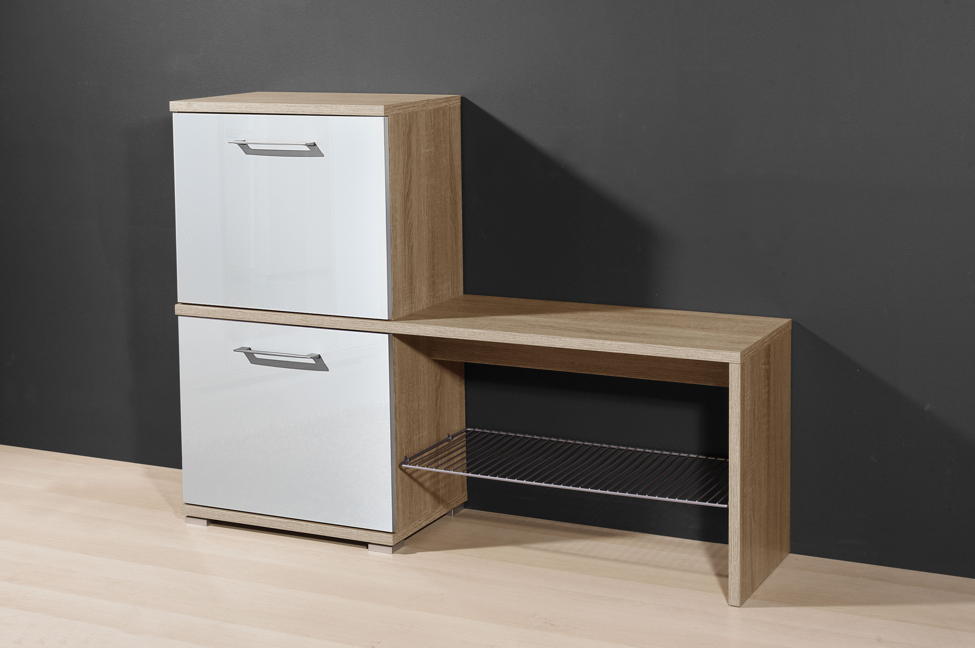 schuhschrank mit schuhbank schuhkommode mod gm536 sonoma eiche weiss hochglanz ebay. Black Bedroom Furniture Sets. Home Design Ideas