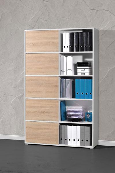 schiebet renregal schieberegal regal mehrzweckregal mod gm569 sonoma eiche weiss. Black Bedroom Furniture Sets. Home Design Ideas