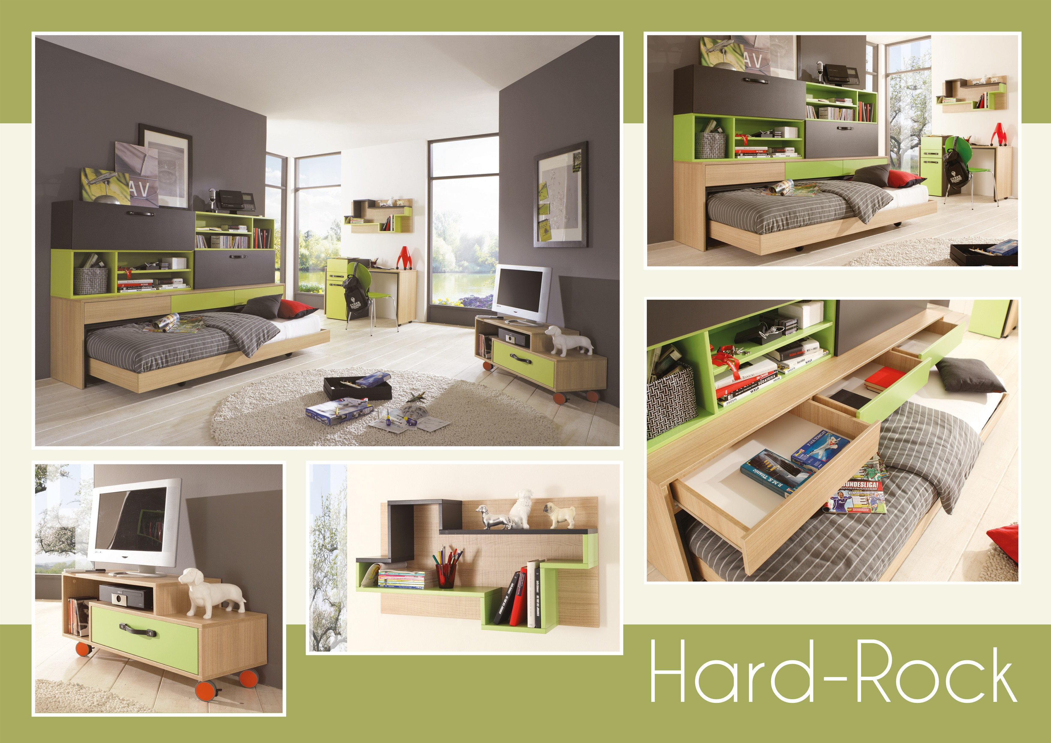 jugendzimmer gr n anthrazit hellbraun h c m bel. Black Bedroom Furniture Sets. Home Design Ideas