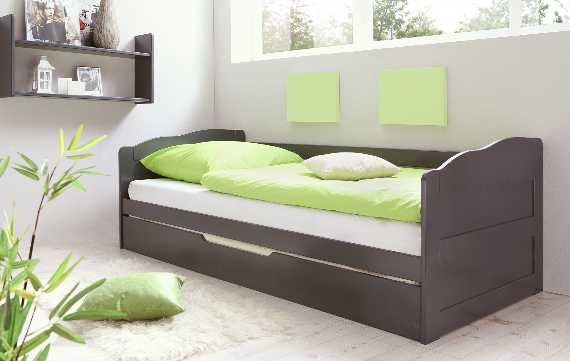 sofabett mit auszug kiefer anthrazit h c m bel. Black Bedroom Furniture Sets. Home Design Ideas
