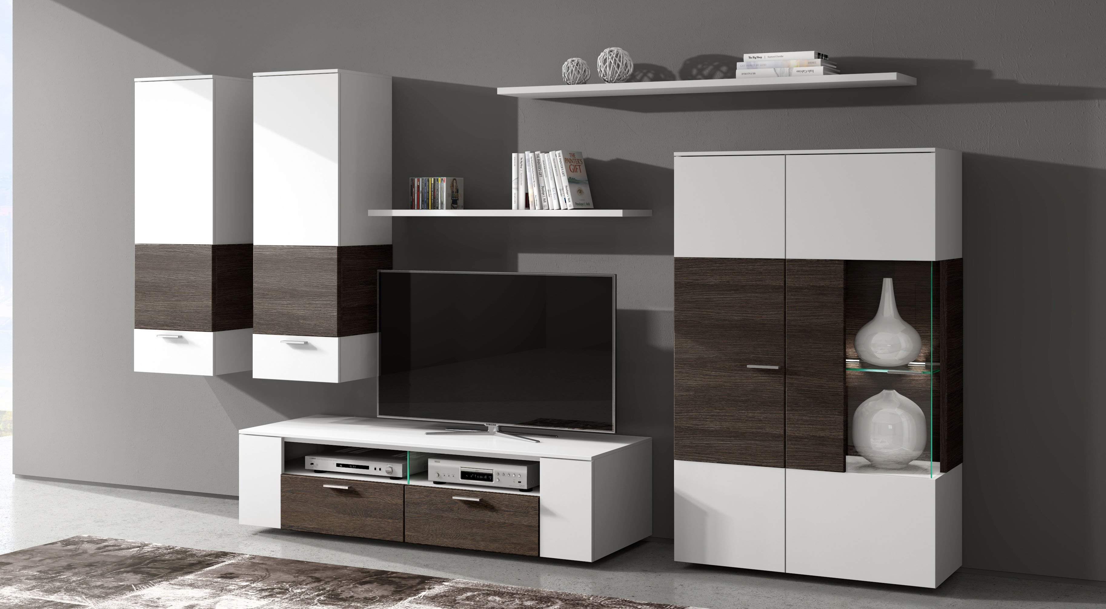 wohnwand modern braun. Black Bedroom Furniture Sets. Home Design Ideas