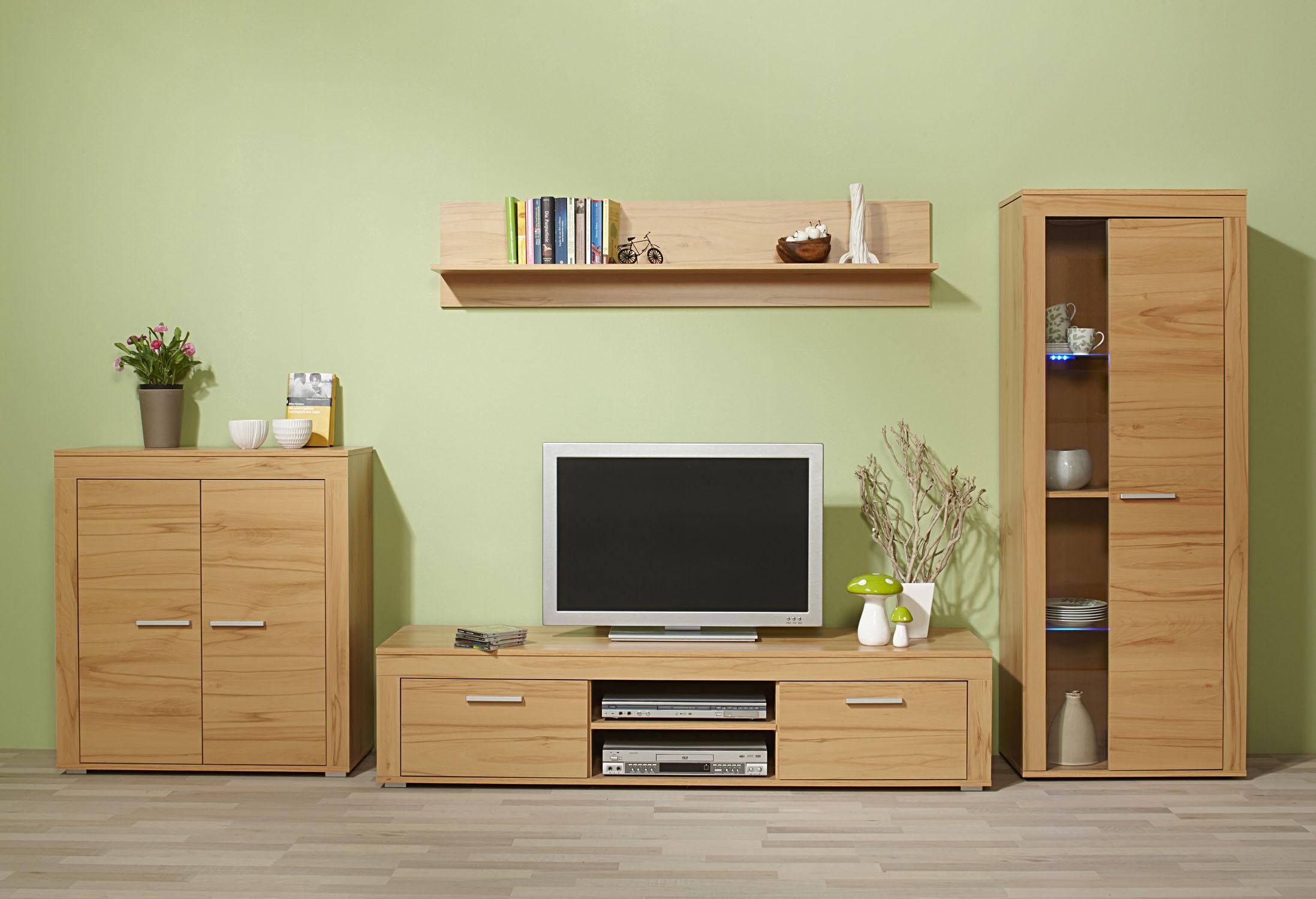 4tlg wohnwand anbauwand wohnzimmerset kernbuche eiche sonoma tr ffel nussbaum ebay. Black Bedroom Furniture Sets. Home Design Ideas