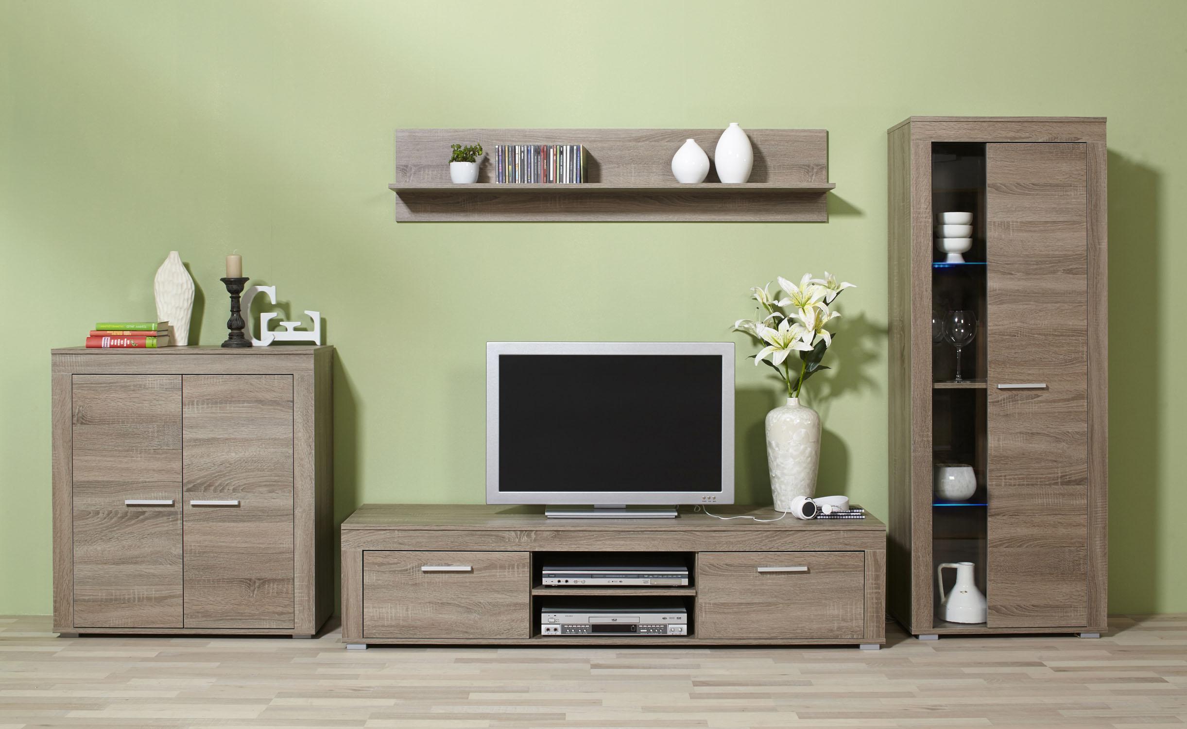4tlg wohnwand anbauwand wohnzimmerset kernbuche eiche. Black Bedroom Furniture Sets. Home Design Ideas