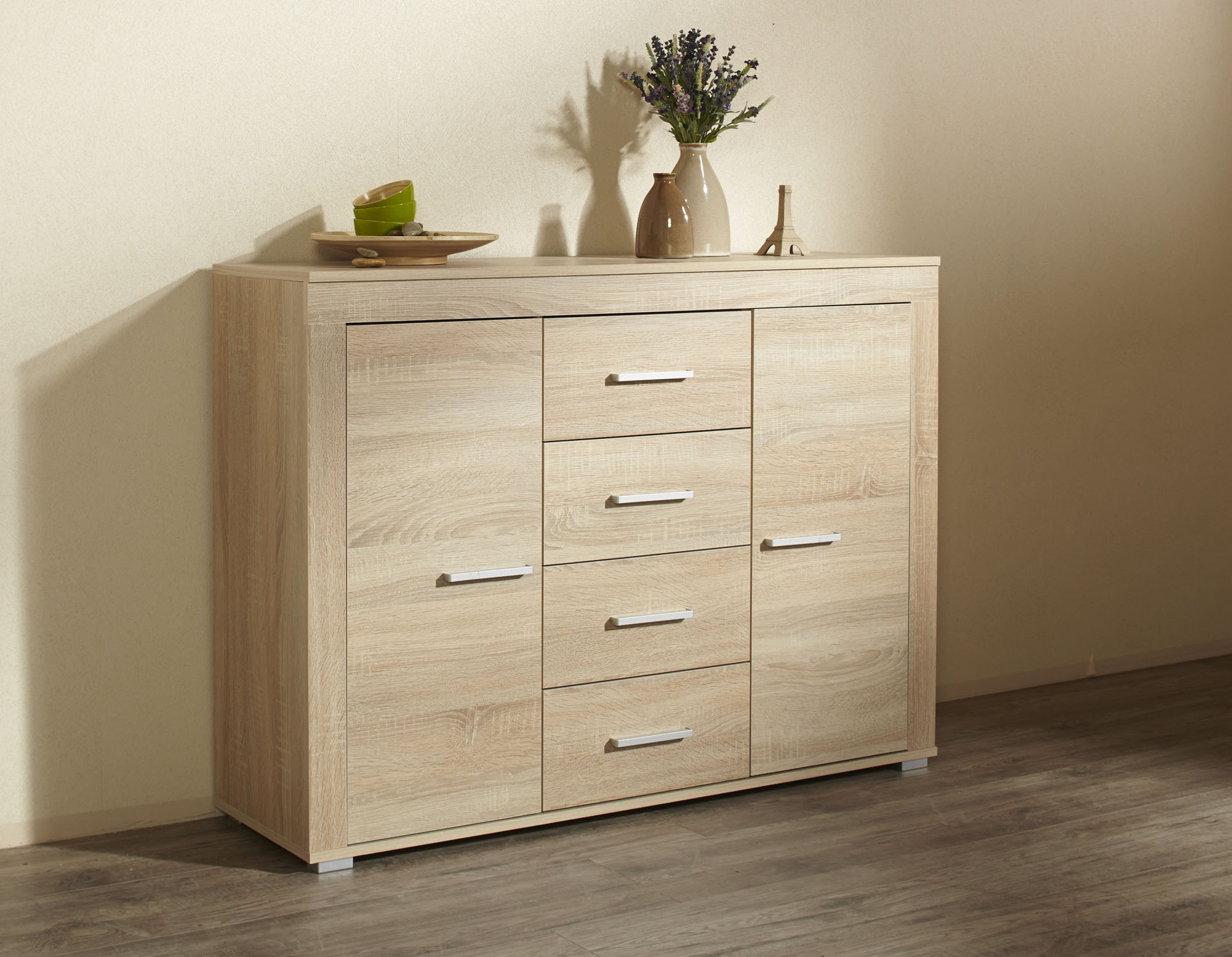 Kommode sideboard highboard anrichte schrank kernbuche for Schrank sonoma eiche