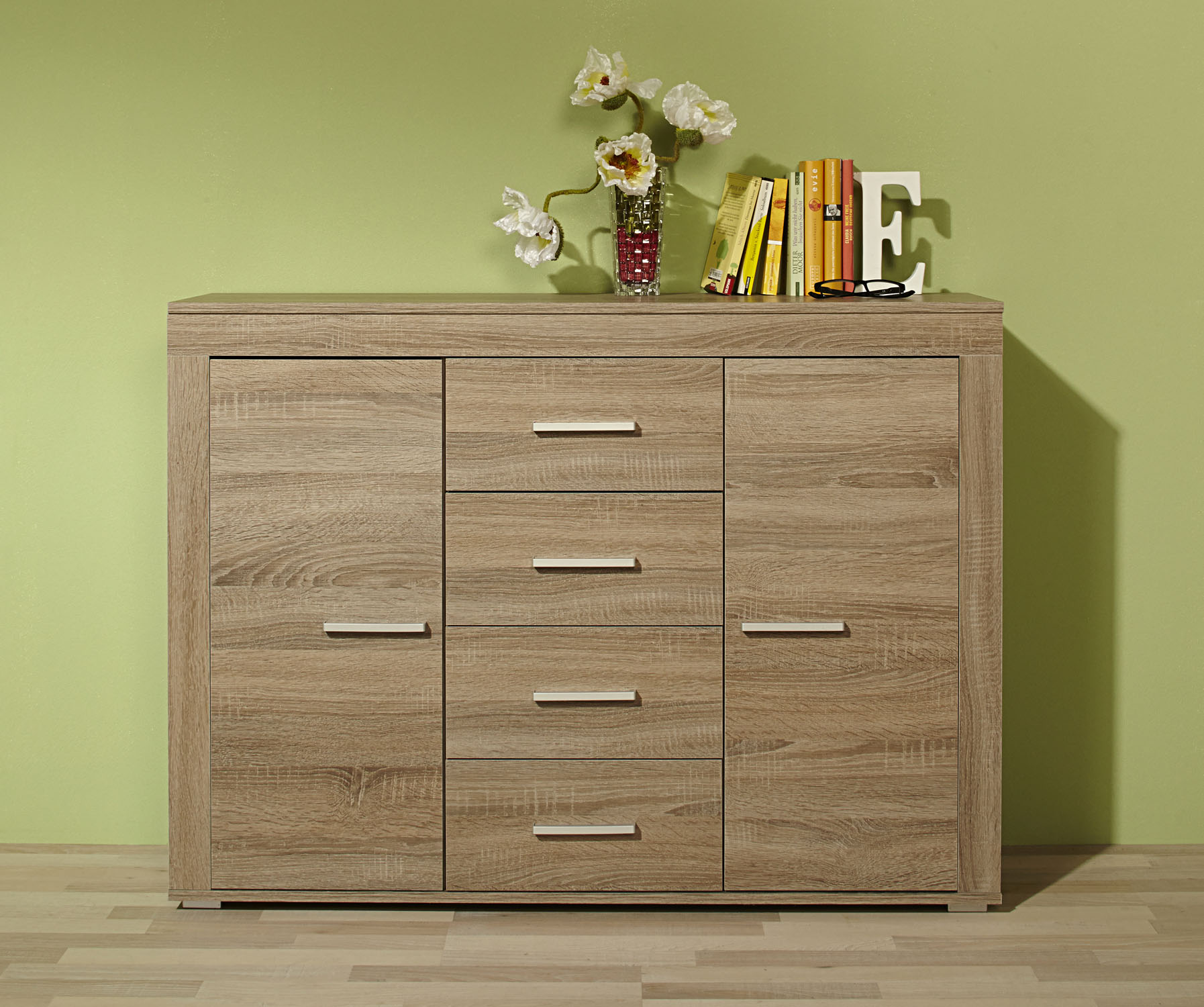 kommode sideboard highboard anrichte schrank kernbuche eiche sonoma tr ffel sand ebay. Black Bedroom Furniture Sets. Home Design Ideas