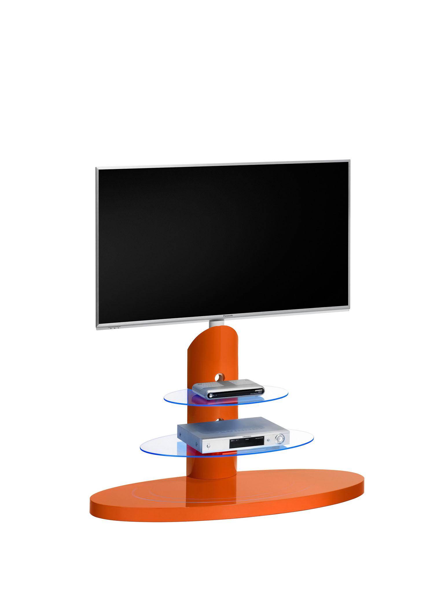 tv halterung st nder unterschrank ablage led licht pastellrot curry hochglanz ebay. Black Bedroom Furniture Sets. Home Design Ideas