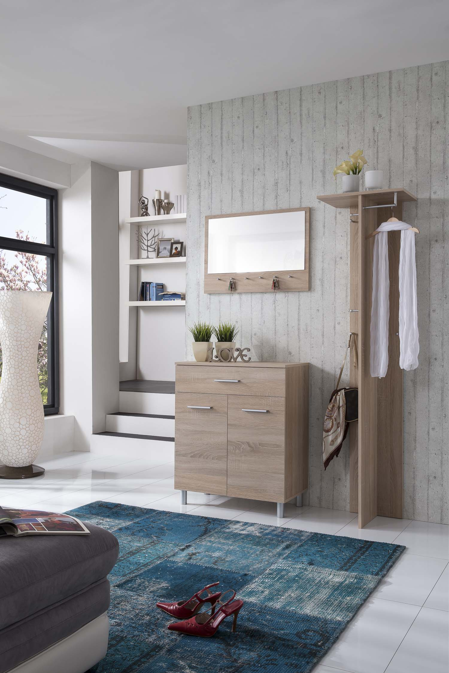 schuhschrank garderobe wandspiegel flurset garderobenset. Black Bedroom Furniture Sets. Home Design Ideas