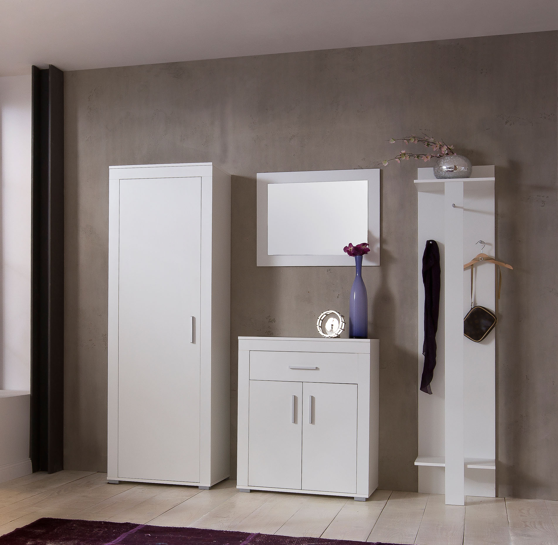 4tlg flurset garderobenset schuhschrank garderobenschrank. Black Bedroom Furniture Sets. Home Design Ideas