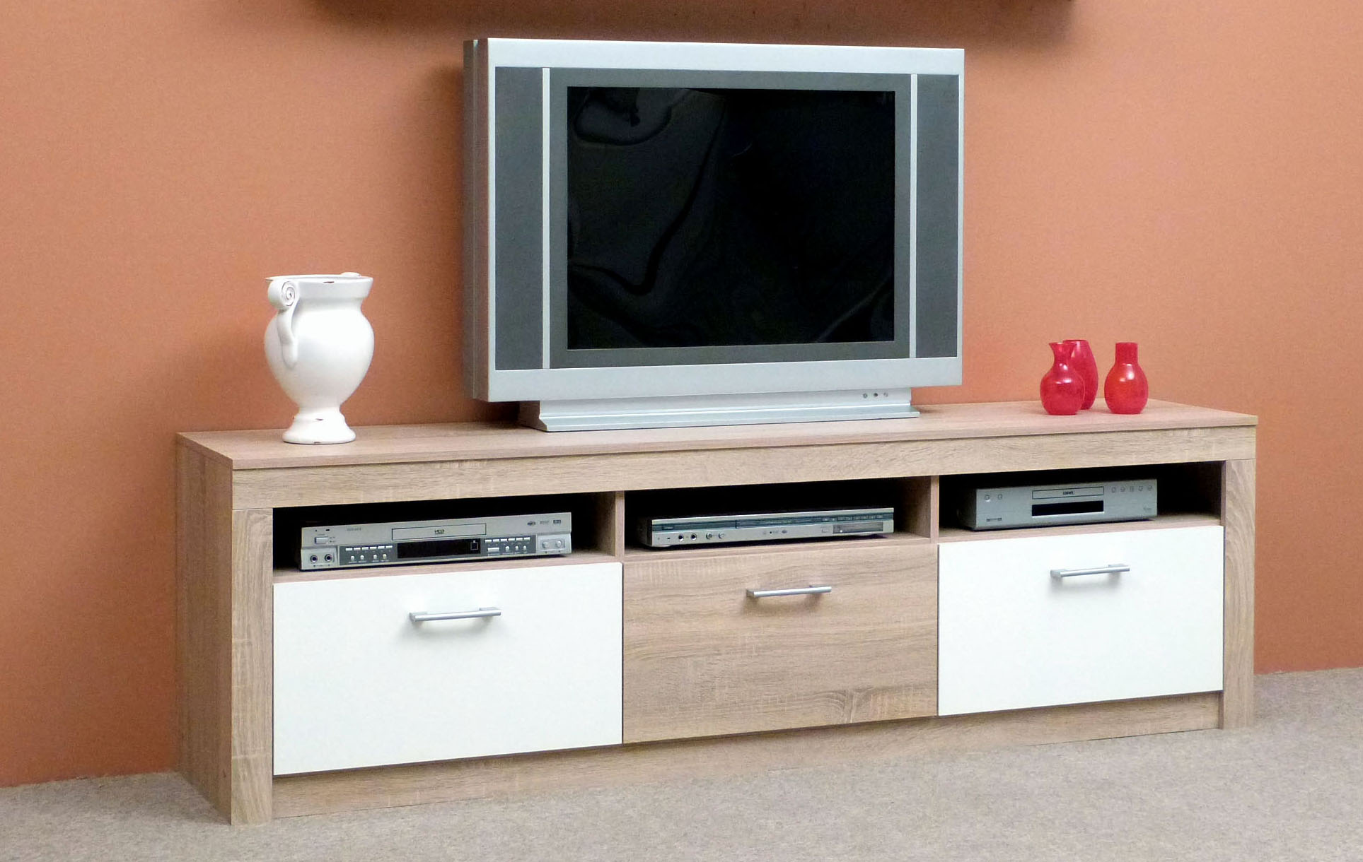 wohnzimmerset tv lowboard unterschrank wandregal h ngeregal sonoma eiche weiss ebay. Black Bedroom Furniture Sets. Home Design Ideas