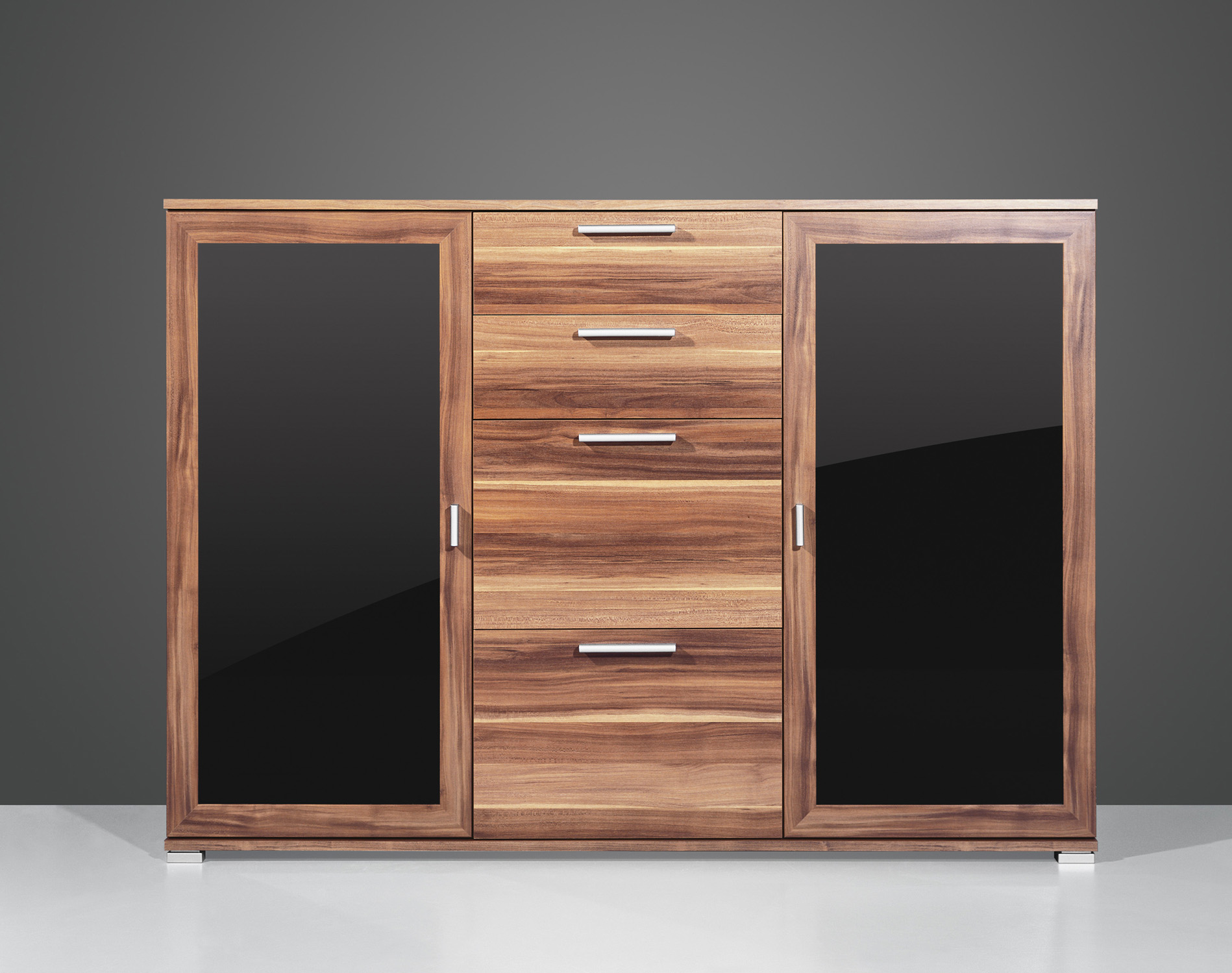 sideboard kommode anrichte flurkommode 2 t rig schwarzglas. Black Bedroom Furniture Sets. Home Design Ideas