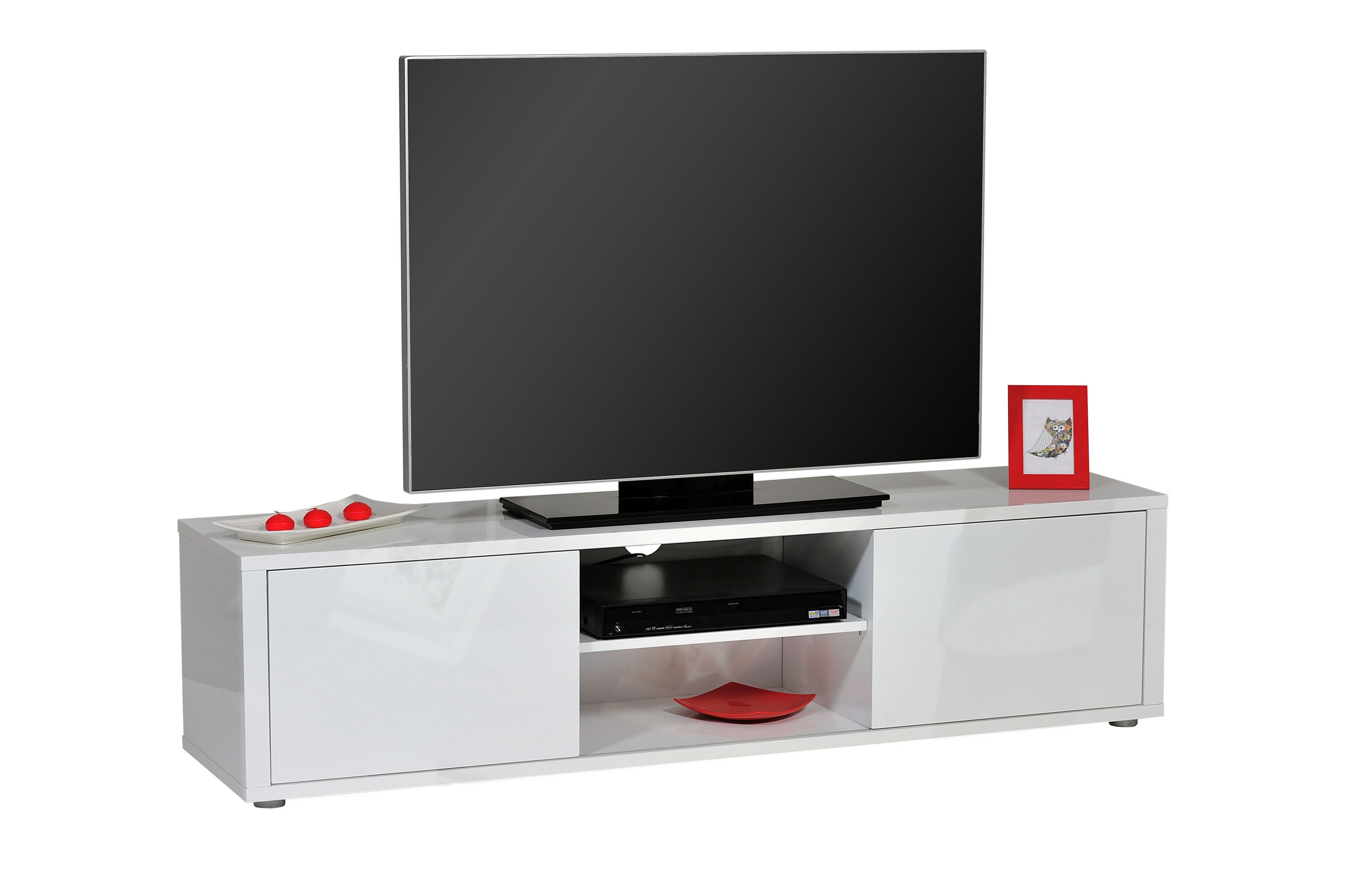 tv lowboard unterschrank ablage hifi regal weiss schwarz. Black Bedroom Furniture Sets. Home Design Ideas