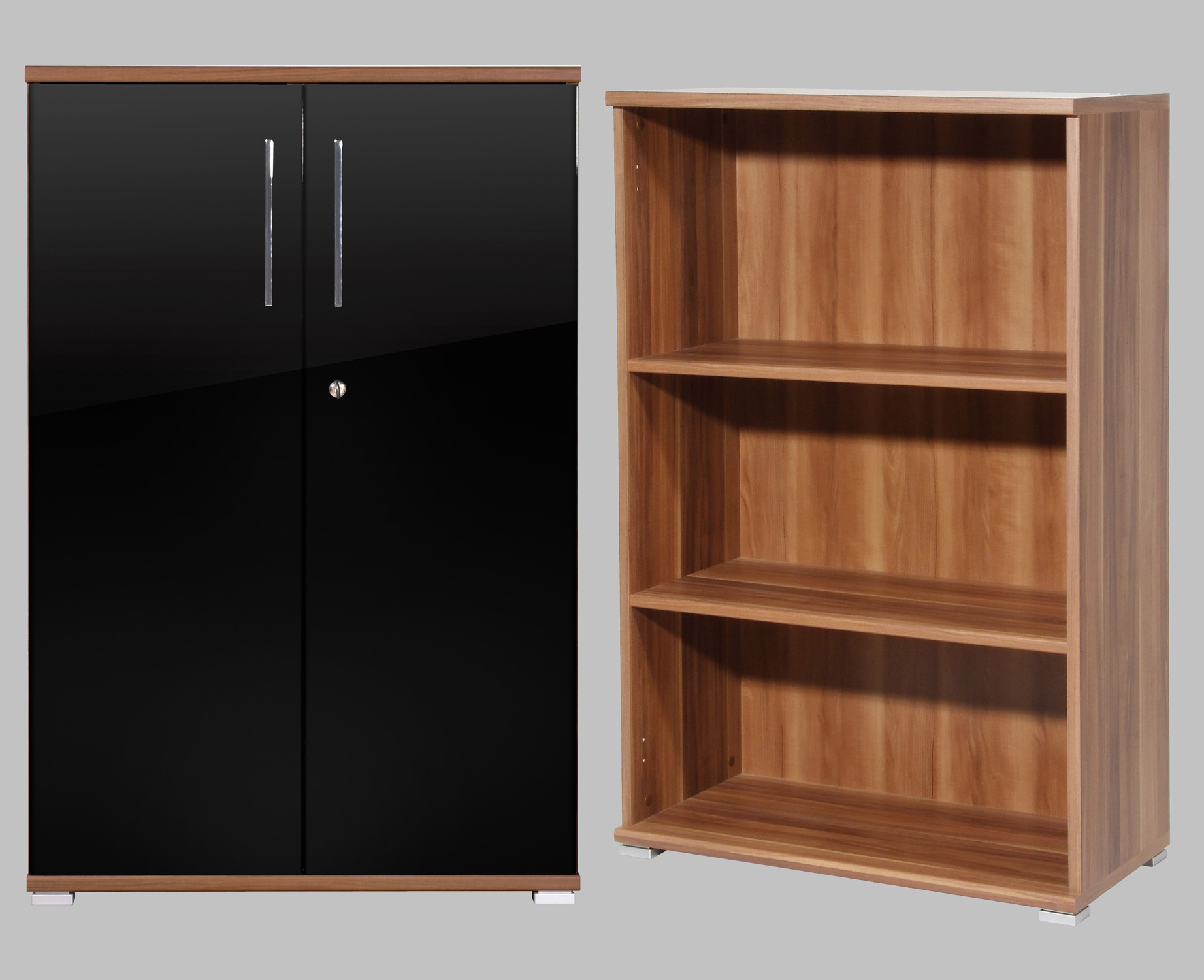 b ro aktenschrank abschlie bar kommode schrank walnuss schwarz hochglanz ebay. Black Bedroom Furniture Sets. Home Design Ideas