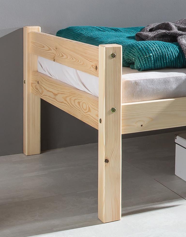 einzelbett bett bettgestell 90 x 200 cm mod bt808 kiefer natur weiss massiv. Black Bedroom Furniture Sets. Home Design Ideas
