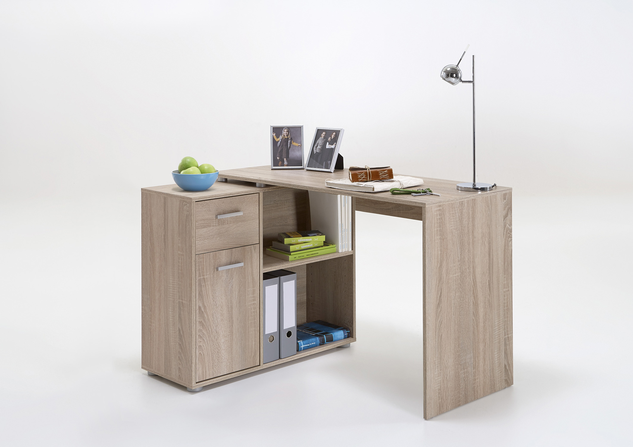 eckschreibtisch schreibtisch workstation winkelkombination aktenregal wei eiche ebay. Black Bedroom Furniture Sets. Home Design Ideas
