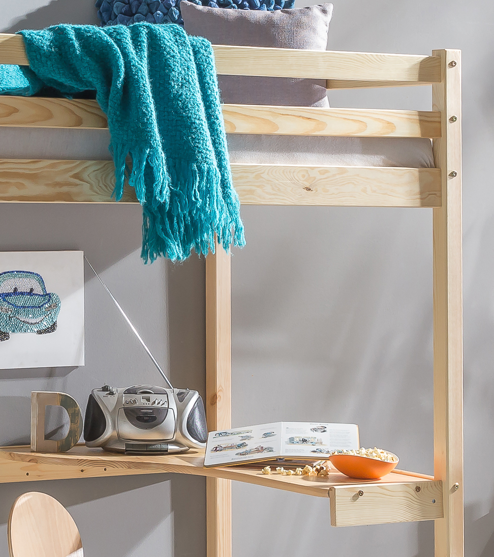 hochbett mit schreibtisch etagenbett bett mod bt813 kiefer. Black Bedroom Furniture Sets. Home Design Ideas