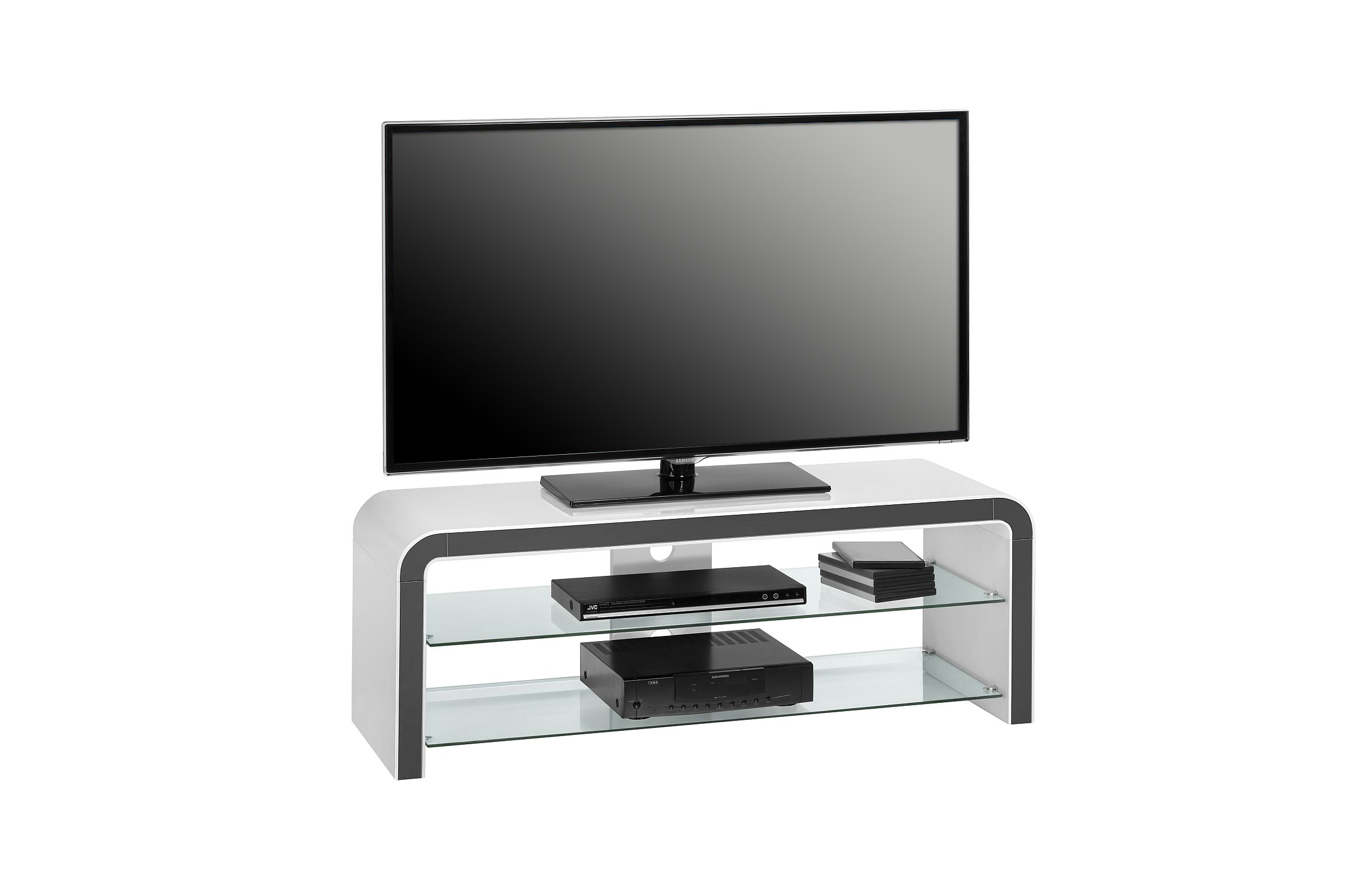 tv lowboard hifi ablage unterschrank weiss hochglanz. Black Bedroom Furniture Sets. Home Design Ideas
