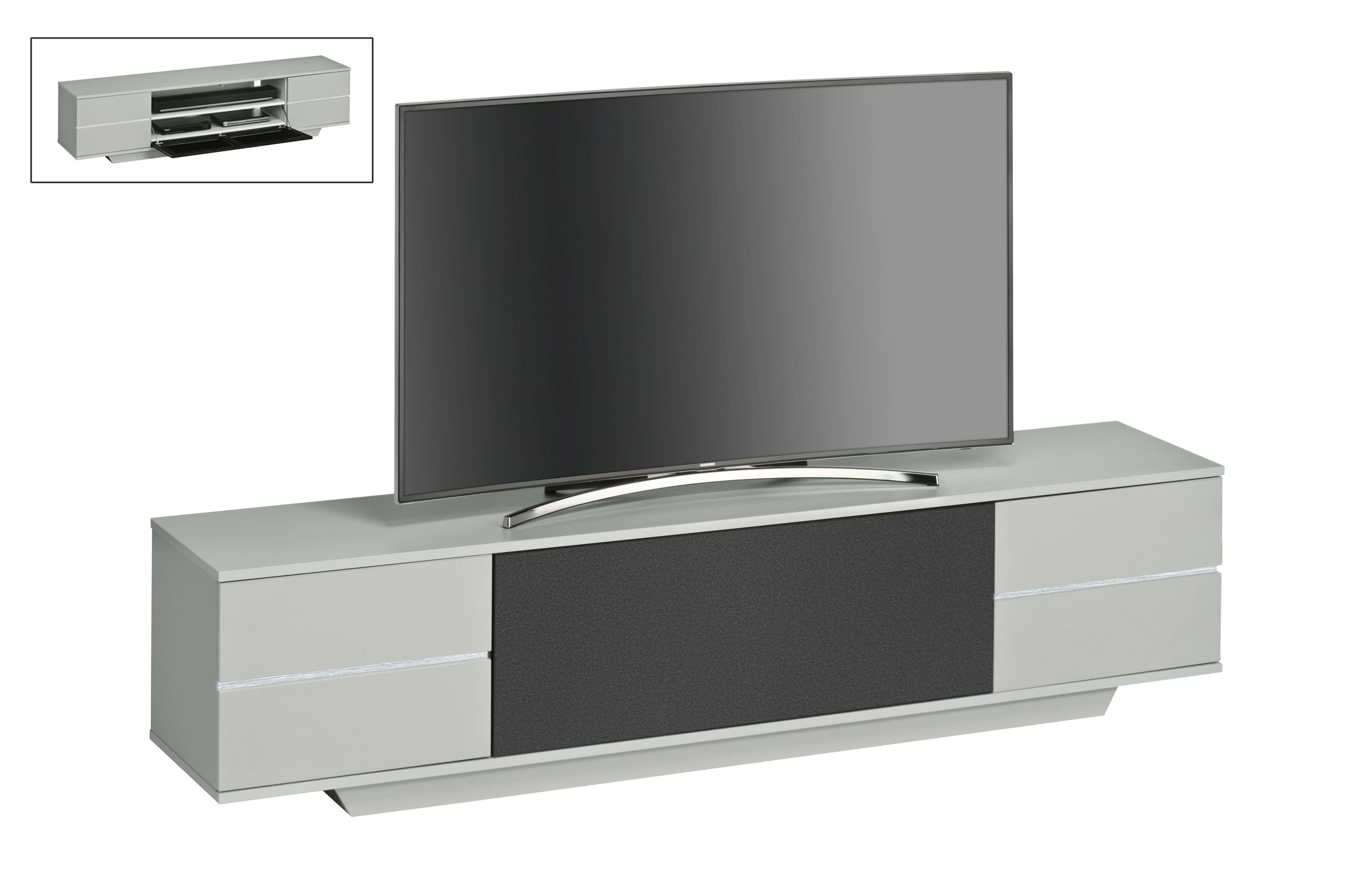 lowboard tv rack unterschrank kommode mod mj081 platingrau akustikstoff schwarz ebay. Black Bedroom Furniture Sets. Home Design Ideas