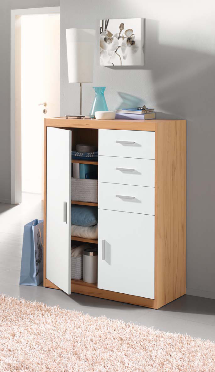 design kommode schubladen aktenschrank schuhschrank spiegel kernbuche weiss ebay. Black Bedroom Furniture Sets. Home Design Ideas