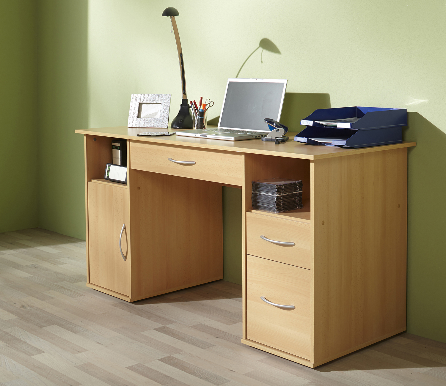 schreibtisch workstation computertisch tisch mod w033 weiss buche sonoma eiche ebay. Black Bedroom Furniture Sets. Home Design Ideas