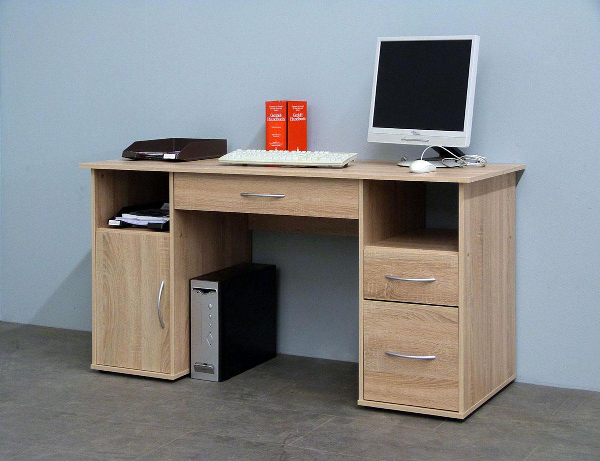 schreibtisch workstation computertisch tisch mod w033 weiss buche sonoma eiche ebay. Black Bedroom Furniture Sets. Home Design Ideas