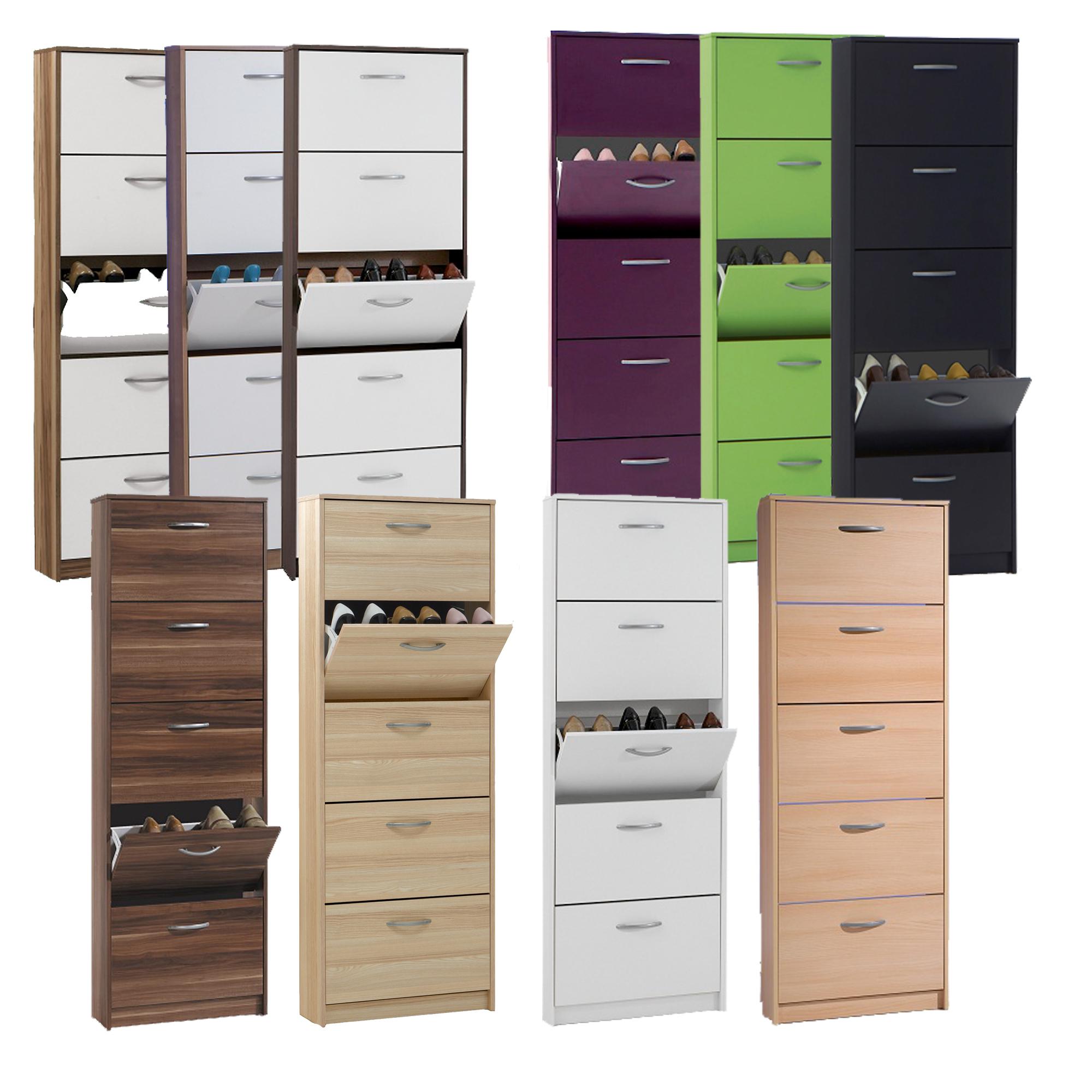 schuhschrank mit 5 schuhkipper verschiedenen farben buche. Black Bedroom Furniture Sets. Home Design Ideas