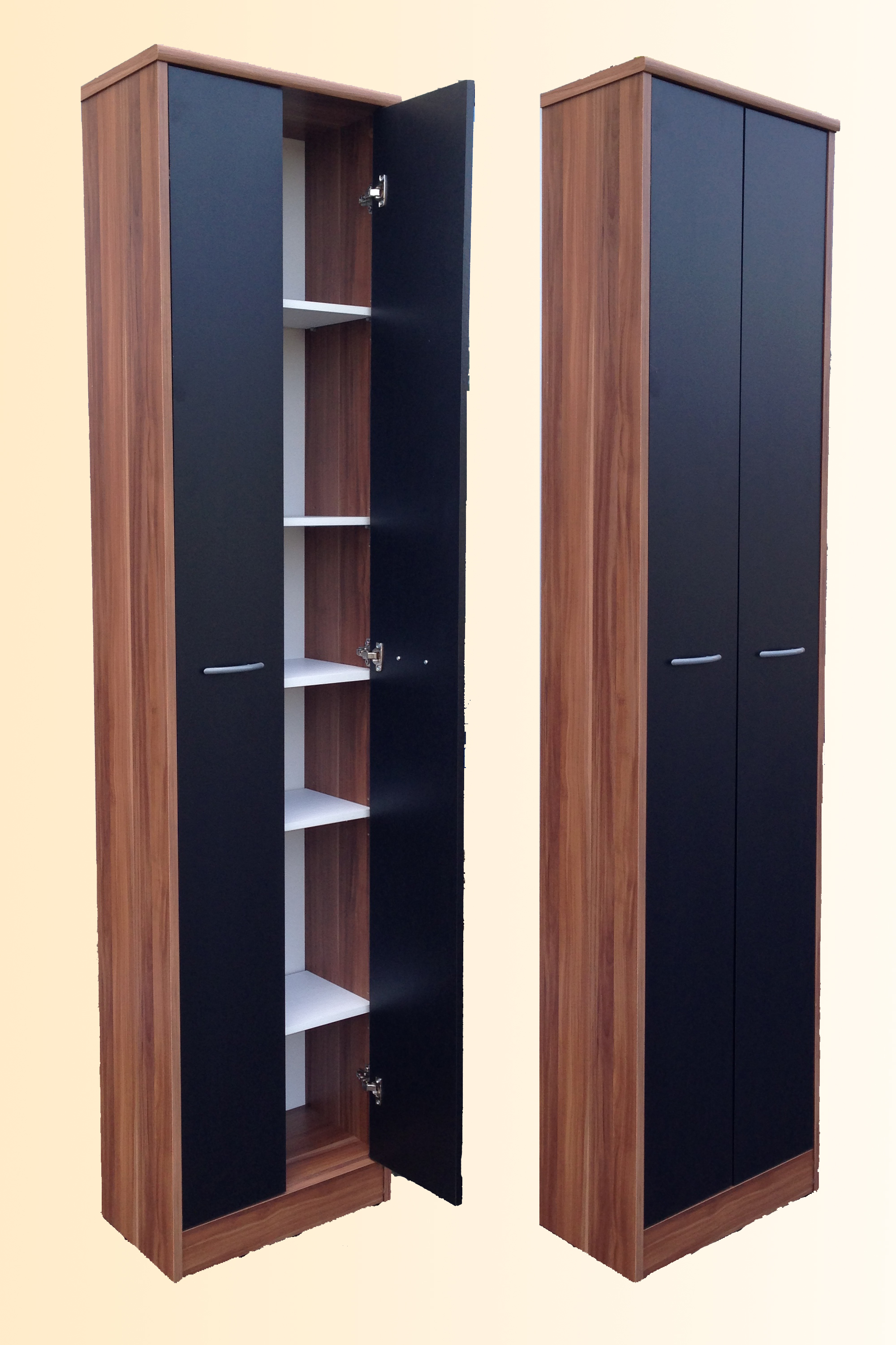 mehrzweckschrank 2 t rig aktenschrank schrank flur mod so161 nussbaum schwarz ebay. Black Bedroom Furniture Sets. Home Design Ideas