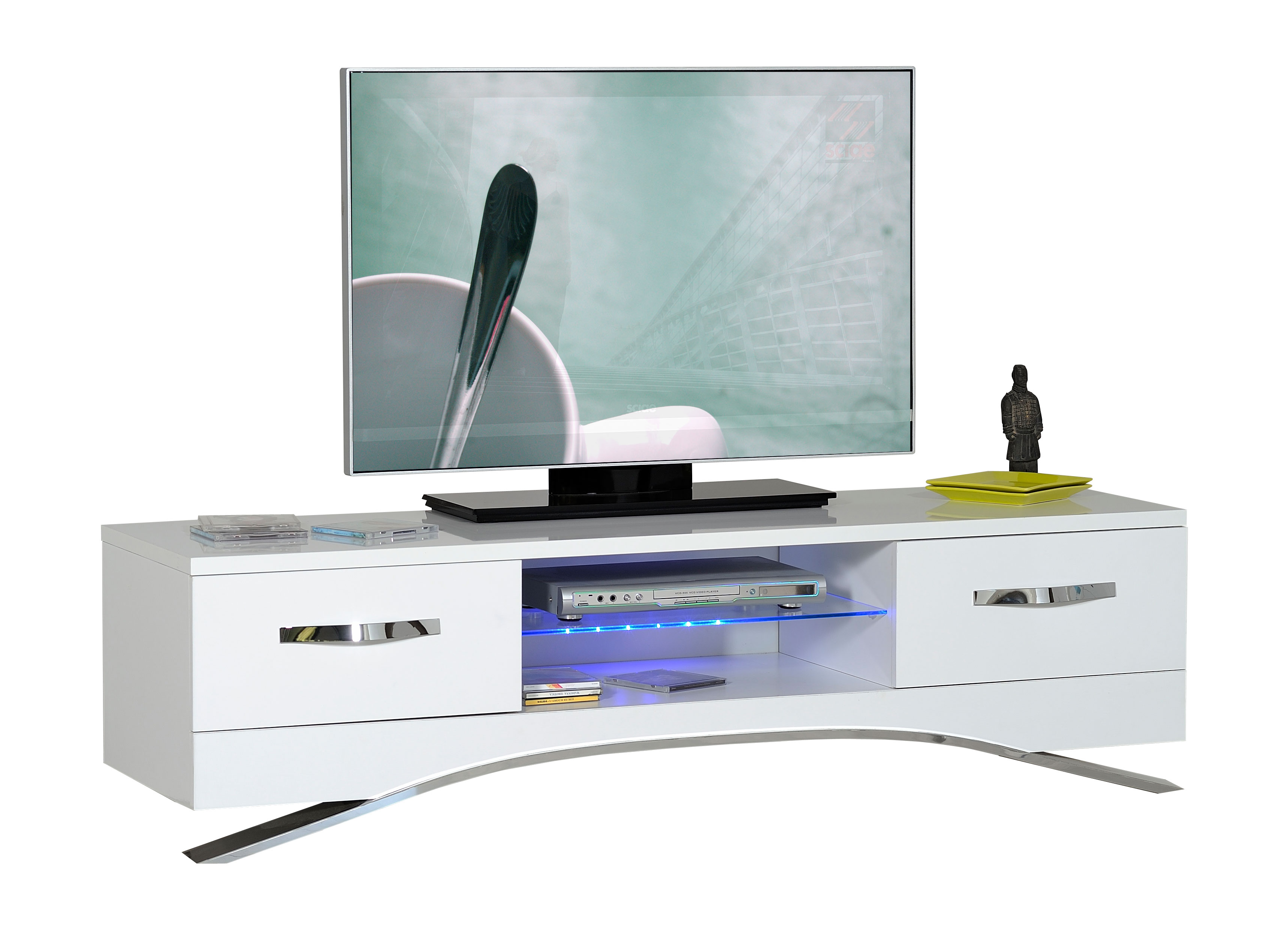 design tv hifi ablage unterschrank lowboard mod sc034 weiss hochglanz lack ebay. Black Bedroom Furniture Sets. Home Design Ideas