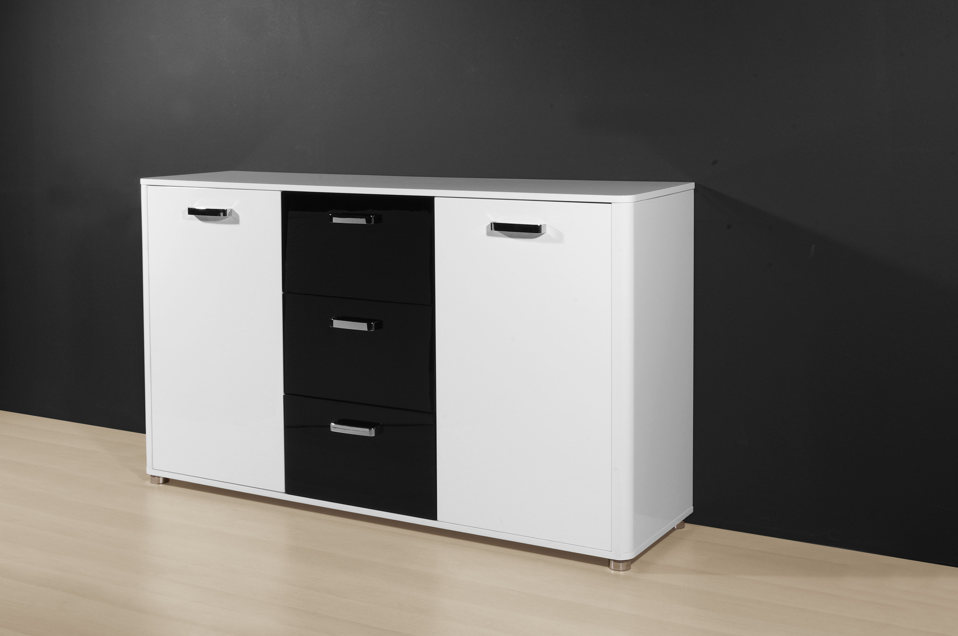 sideboard kommode flurkommode aktenschrank anrichte k596 weiss schwarz hochglanz ebay. Black Bedroom Furniture Sets. Home Design Ideas