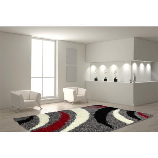 teppich 200 x 290 cm grau rot h c m bel. Black Bedroom Furniture Sets. Home Design Ideas