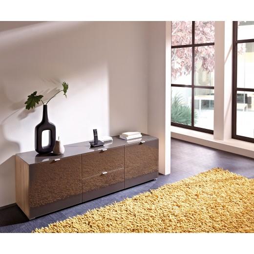 Lowboard - Unterschrank Sonoma Eiche - Braun Glasfront K671