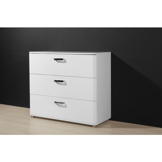 kommode 3 schub weiss hochglanz lackiert k603 h c m bel. Black Bedroom Furniture Sets. Home Design Ideas