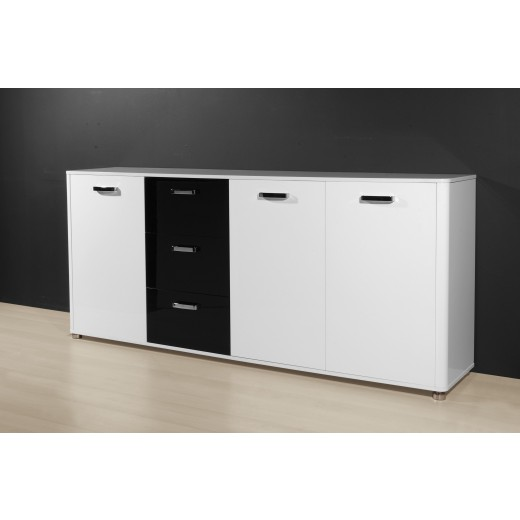sideboard mod k596 2 weiss schwarz hochglanz lack h c m bel. Black Bedroom Furniture Sets. Home Design Ideas