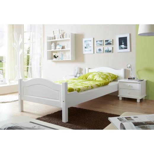 Einzelbett weiß 100x200  Einzelbett 100x200 Mod.857613 Kiefer Weiss - H&C Möbel