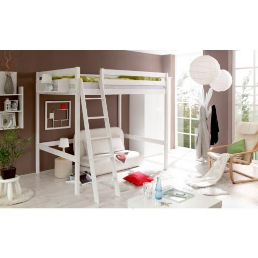 hochbett 140x200 kiefer weiss h c m bel. Black Bedroom Furniture Sets. Home Design Ideas
