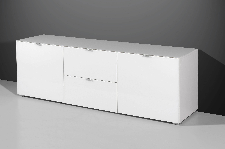 Lowboard Mod.GM435 Weiss - Glasfront - H&C Möbel