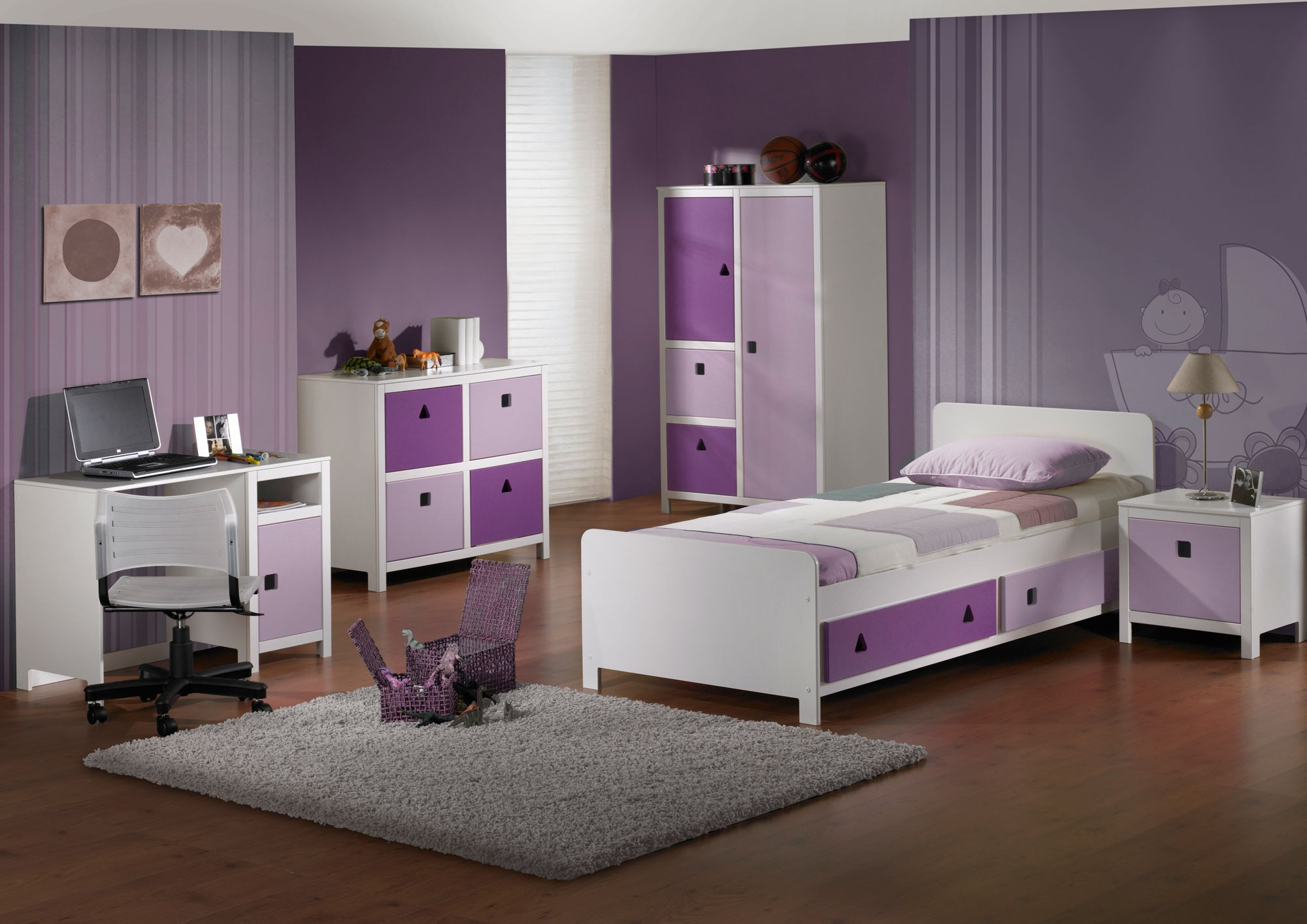 kinderzimmer lila h c m bel. Black Bedroom Furniture Sets. Home Design Ideas
