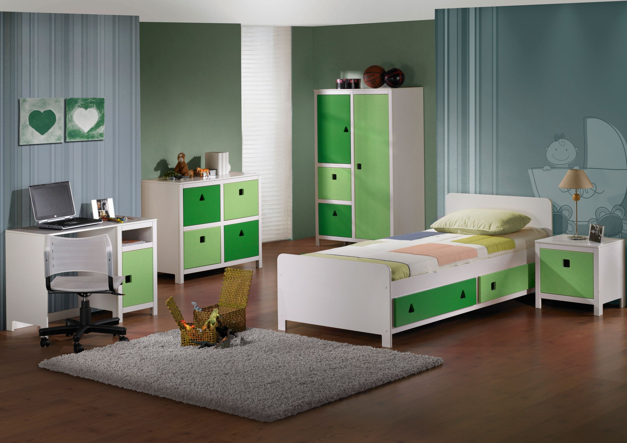 kinderzimmer gr n h c m bel. Black Bedroom Furniture Sets. Home Design Ideas