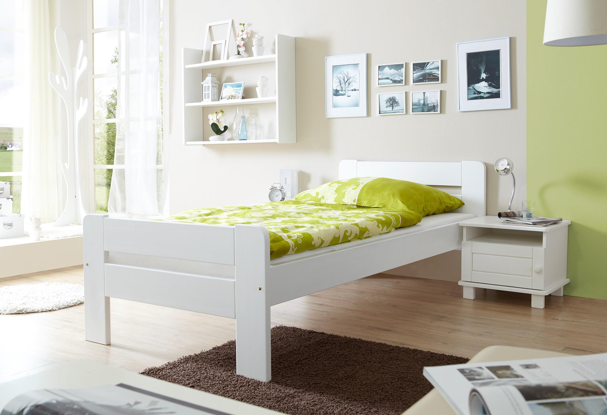 einzelbett 100x200 kiefer weiss h c m bel. Black Bedroom Furniture Sets. Home Design Ideas