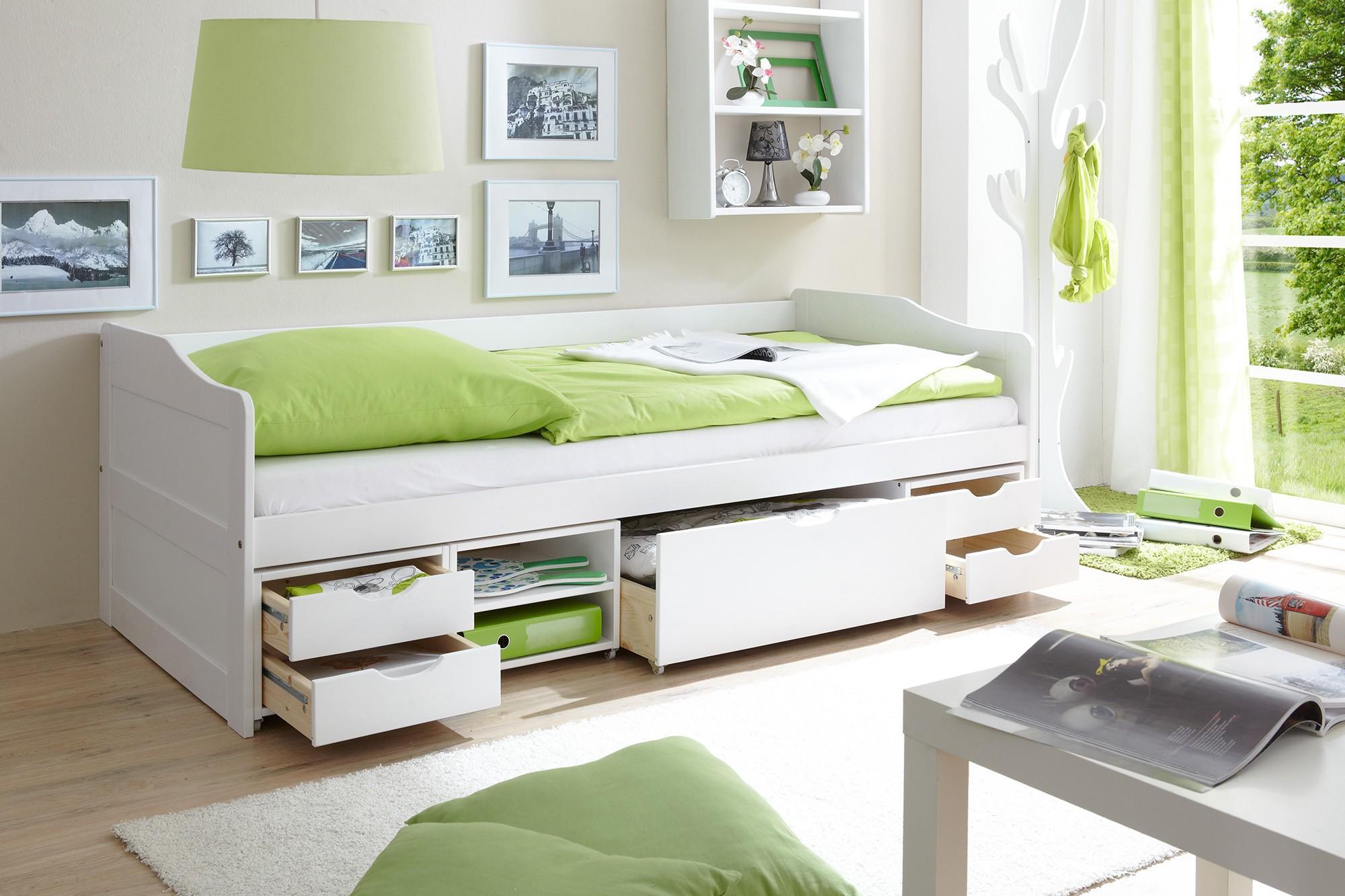 sofabett mit 4 schubk sten kiefer weiss h c m bel. Black Bedroom Furniture Sets. Home Design Ideas