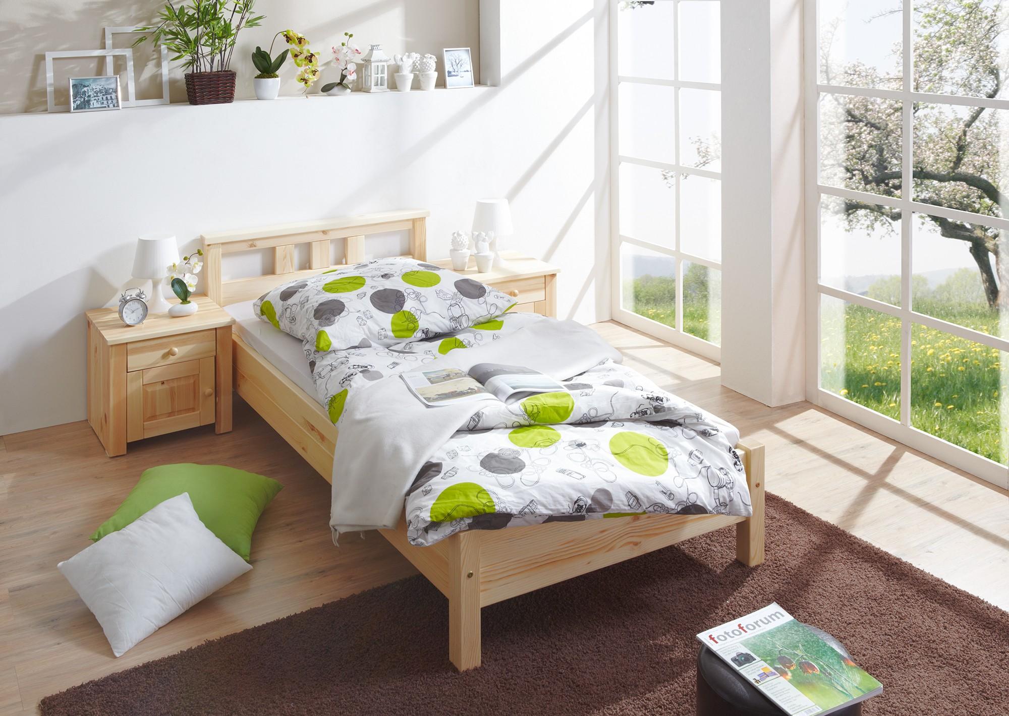 einzelbett 100x200 kiefer natur h c m bel. Black Bedroom Furniture Sets. Home Design Ideas