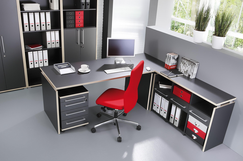 B ro arbeitszimmer 4 teilig mod gm113 anthrazit h c m bel for Bureau de travail design