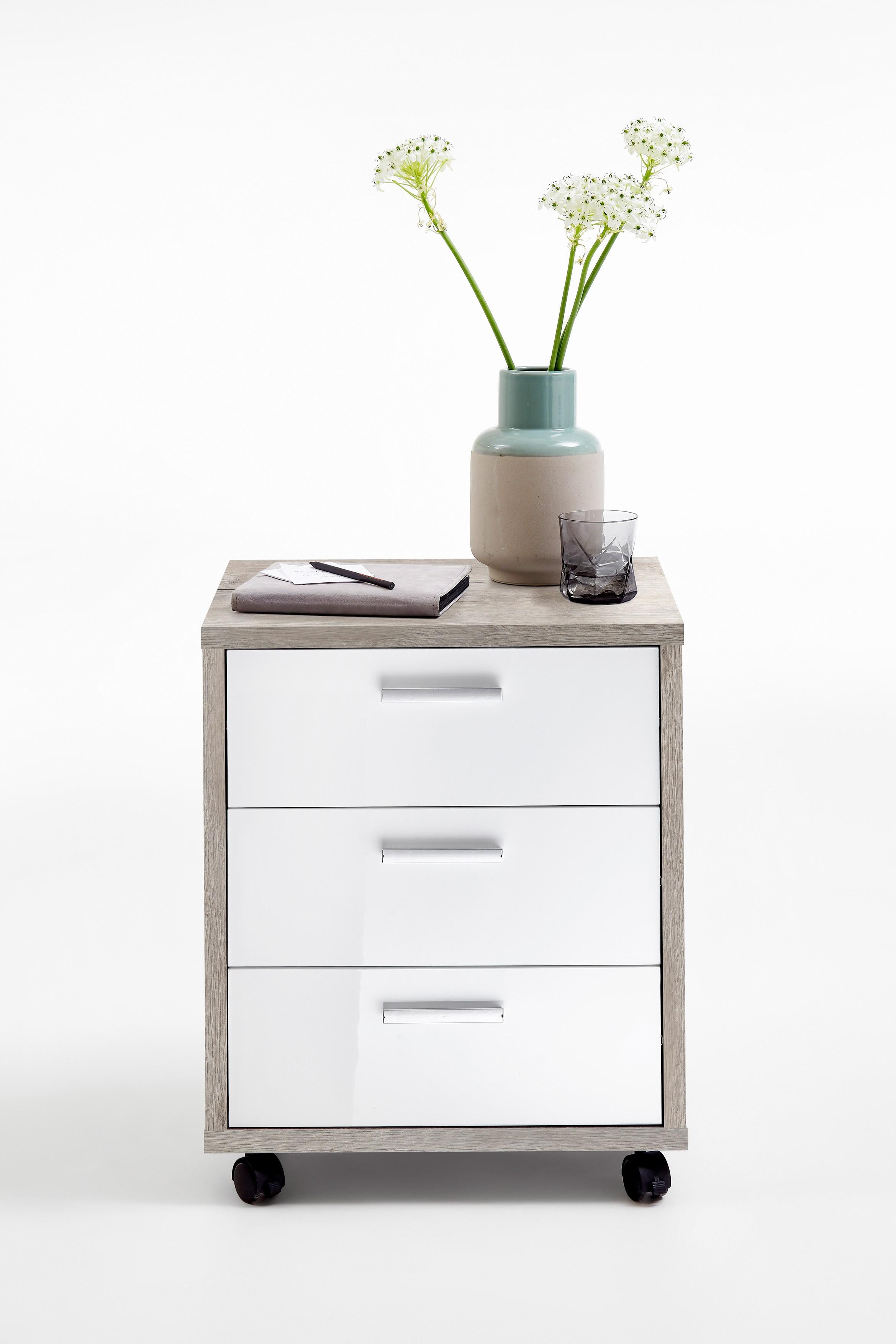 Schreibtisch Modf367 101 Weiß Hochglanz Sandeiche Hc Möbel