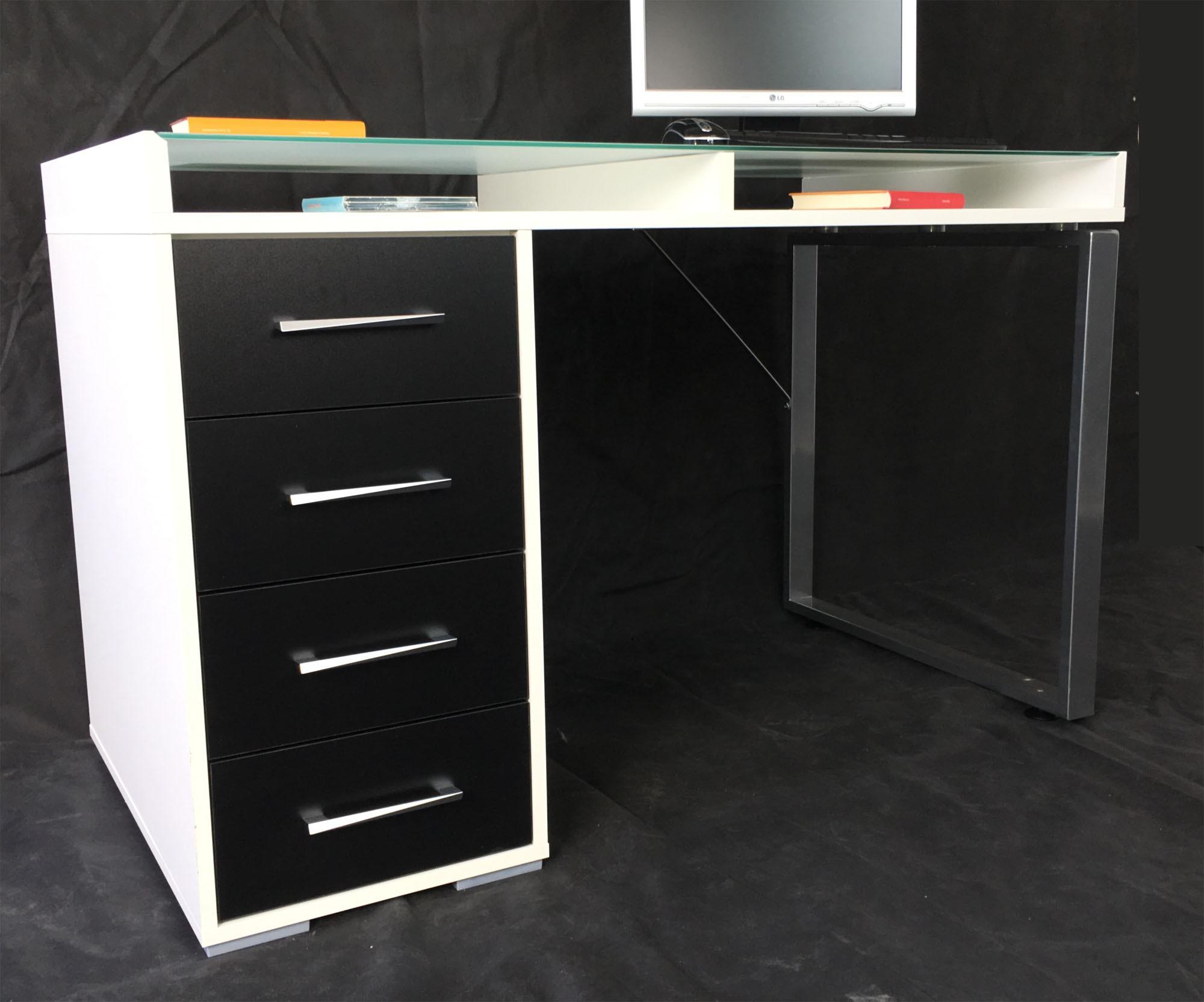 schreibtisch arbeitstisch wei schwarz t208 h c m bel. Black Bedroom Furniture Sets. Home Design Ideas