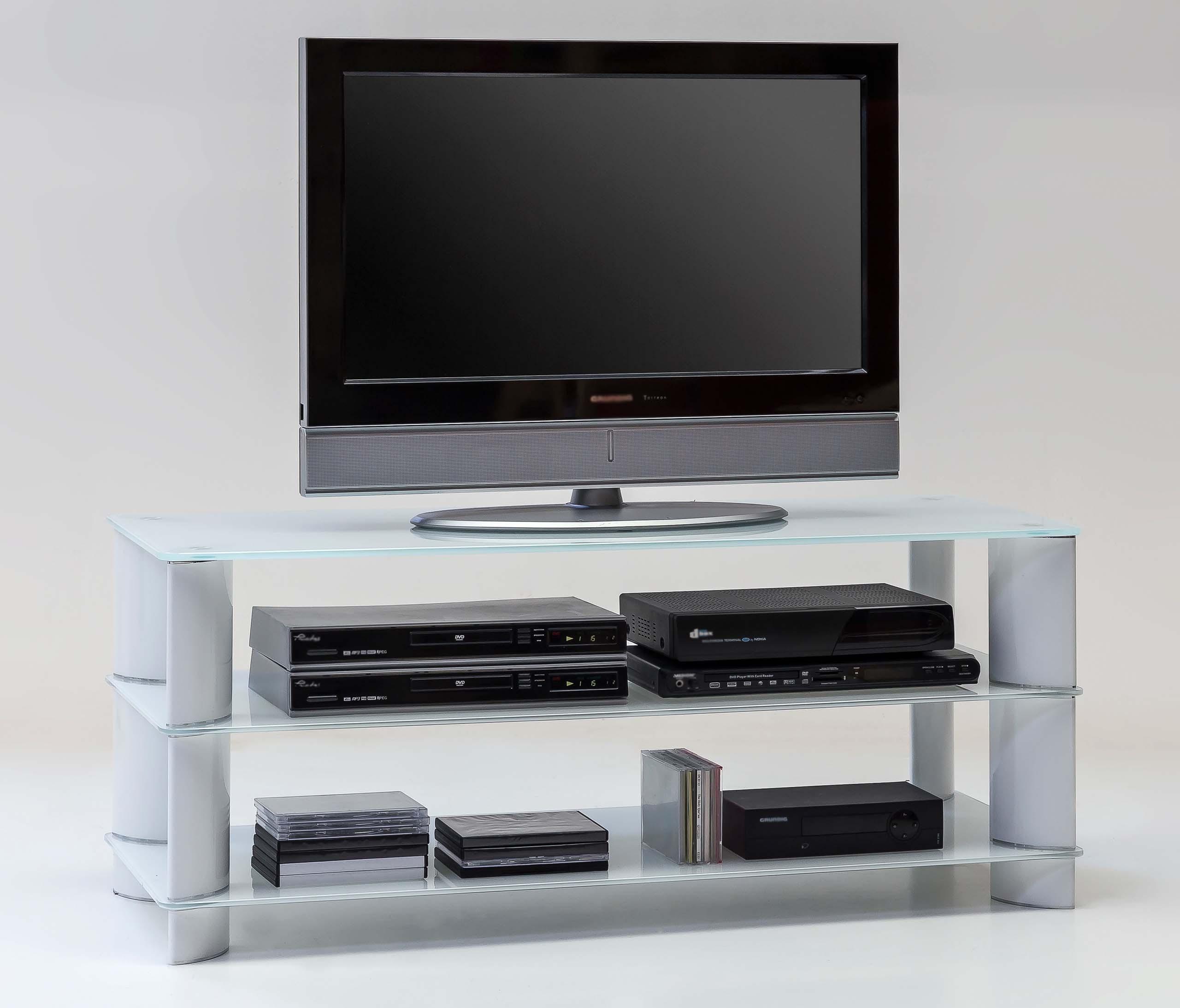 Tv Hifi Ablage Lowboard Weiss Glas Hochglanz Tv688 H C Mobel