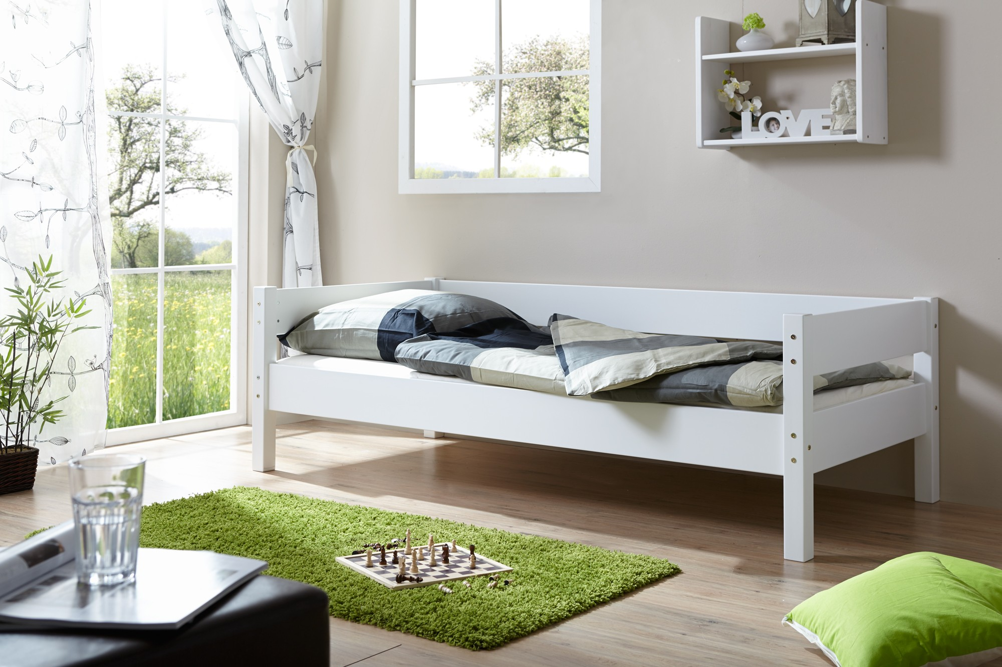 einzelbett 90x200 buche weiss h c m bel. Black Bedroom Furniture Sets. Home Design Ideas