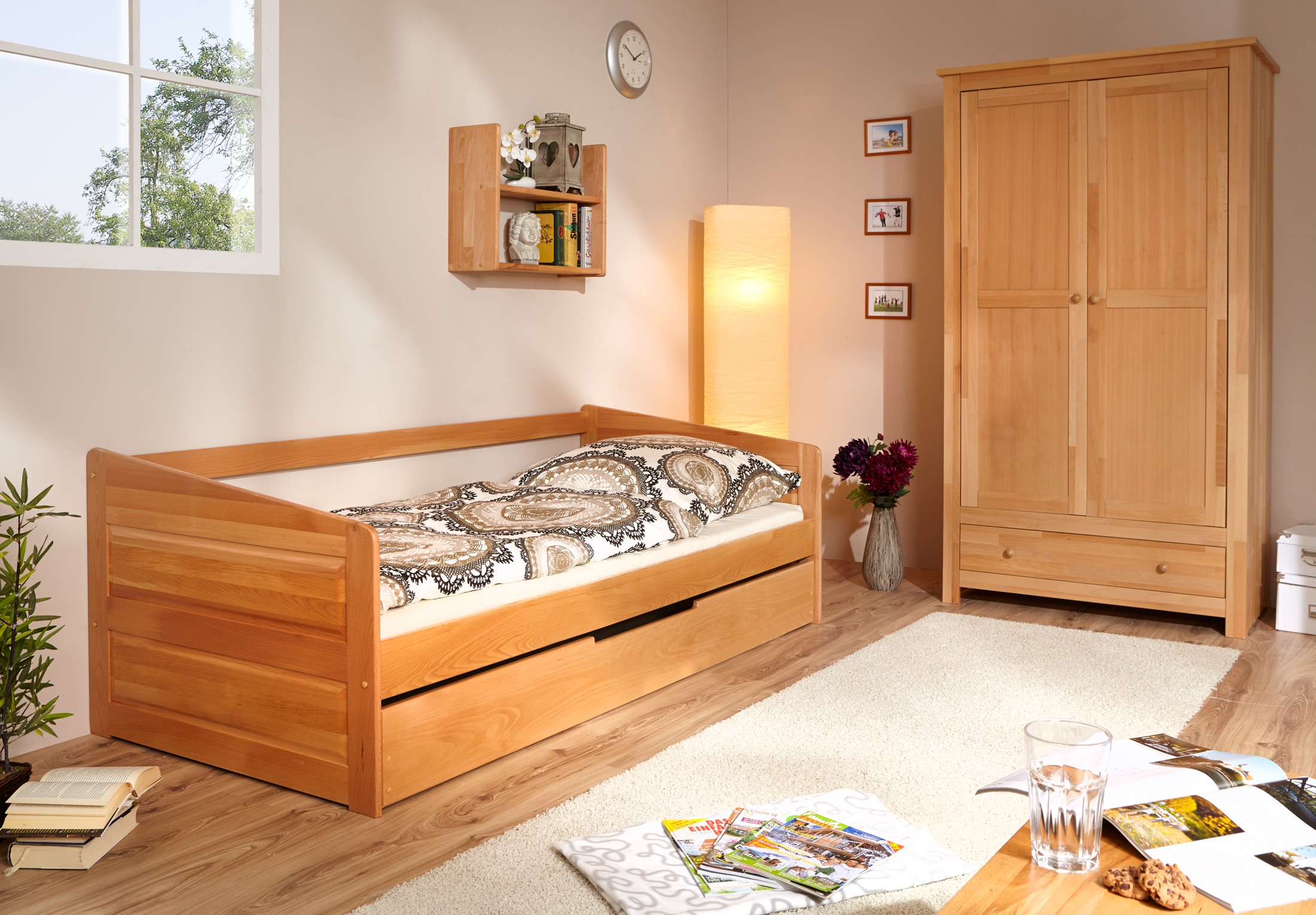 Sofabett mit auszug buche natur h c m bel for Sofabett jugendzimmer