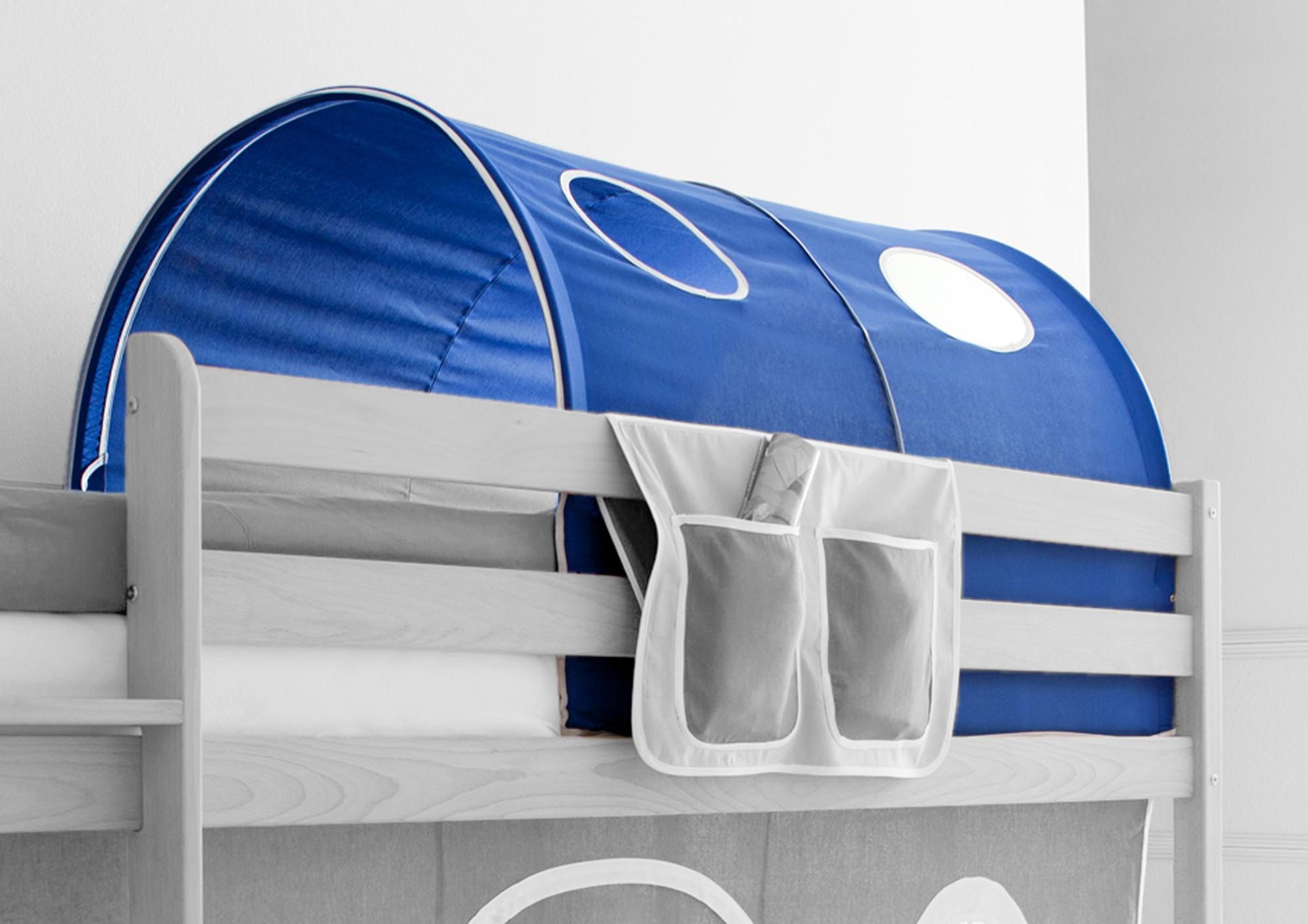 Etagenbett Zubehör Tunnel : Möbilia etagenbett weiss rutsche textilset blau boy vorhang er